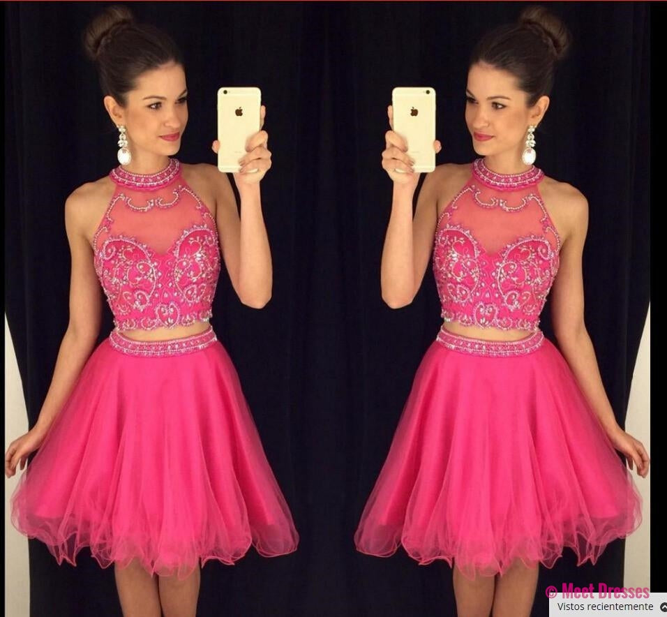 Homecoming Dress,2 Piece Homecoming Dresses,Silver Beading Homecoming Gowns,Short Prom Gown,Pink Sweet 16 Dress,Grey Homecoming Dress,2 pieces Cocktail Dress,Two Pieces Evening Gowns PD20183733