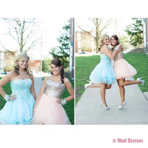 Blue Homecoming Dress,Tulle Homecoming Dresses,Sparkly Homecoming Gowns,Prom Gown,Sweetheart Sweet 16 Dress,Crystals Homecoming Dresses,Tulle Cocktail Dress,Parties Gowns,Evening Gowns PD20183732