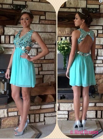 Blue Homecoming Dress,Straps Homecoming Dresses,Tulle Homecoming Gowns,Backless Party Dress,Open Back Short Prom Gown,Sweet 16 Dress,Open Backs Homecoming Gowns PD20183731