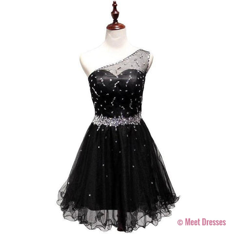 One Shoulder Homecoming Dress,Black Homecoming Dresses,Tulle Homecoming Dress,Party Dress,Short Prom Gown,Backless Sweet 16 Dress,Homecoming Gowns PD20183728