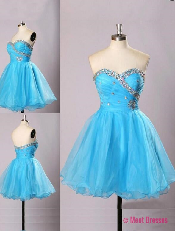 Light Blue Homecoming Dress,Sweetheart Prom Gown,Tulle Homecoming Gowns,Beaded Party Dress,Cheap Prom Dresses,Sparkly Evening Dress PD20183725