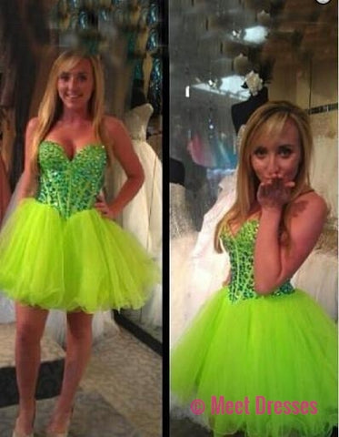 Bud Green Homecoming Dress,Short Prom Dresses,Tulle Homecoming Gowns,Party Dress,Short Prom Dresses,Cocktail Dress,Homecoming Gown PD20183724