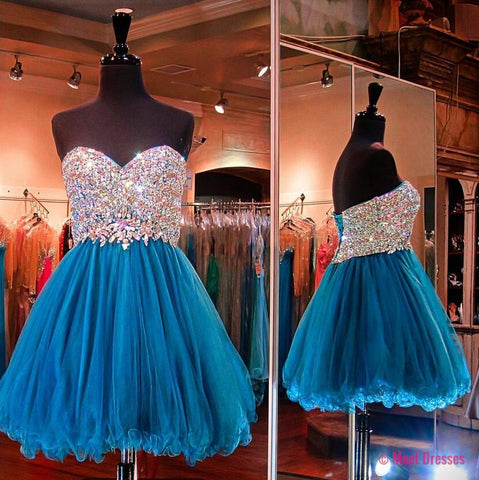 Blue Homecoming Dress,Beading Homecoming Dress,Tulle Homecoming Dress,Cute Short Prom Dress,Party Dress,Sweet 16 Dresses PD20183717