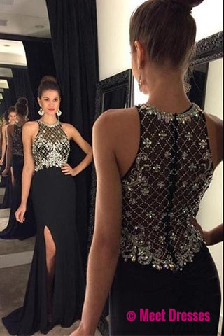 Black Prom Dresses,Backless Prom Dress,Sexy Prom Dress,Simple Prom Dresses,2018 Formal Gown,Beading Evening Gowns,Beaded Party Dress,Prom Gown For Teens PD20183714