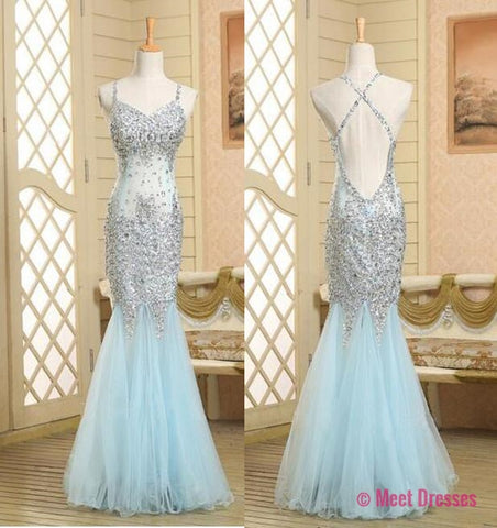 Backless Prom Gown,Open Back Prom Dresses,Light Sky Blue Evening Gowns,Beaded Party Dresses,Mermaid Evening Gowns,Sexy Formal Dress For Teens PD20183557
