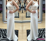 Backless Prom Dresses,White Prom Dress,Open Back Formal Gown,Open Backs Prom Dresses,Sexy Evening Gowns,Chiffon Formal Gown For Teens PD20183451