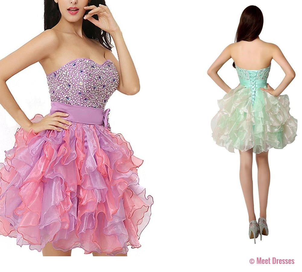 Homecoming Dress,Short Prom Dresses,Tulle Homecoming Gowns,Fitted ...