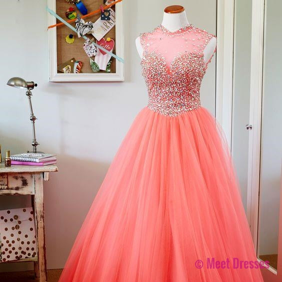 Blush Pink Prom Dress,Ball Gown Prom Dress,Princess Prom Gown,Beaded ...