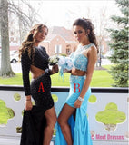 2 Piece Prom Gown,Two Piece Prom Dresses,Black Evening Gowns,2 Pieces Party Dresses,Sexy Evening Gowns,Sparkle Blue Formal Dress For Teens PD20183332
