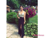 Black Prom Dresses,Beaded Evening Gowns,Sexy Formal Dresses,Sparkle Prom Dresses,Split Evening Gown,Slit Evening Dress,Sparkle Prom Gowns PD20183329