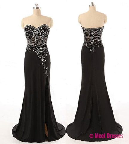Black Prom Dresses,Elegant Evening Dresses,Long Formal Gowns,Beaded Party Dresses,Chiffon Pageant Formal Dress PD20183212