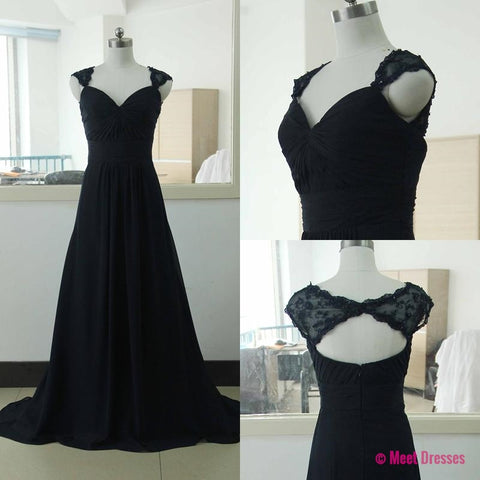 Black Prom Dresses,A Line Prom Dress,Prom Dress,Lace Prom Dresses,2018 Formal Gown,Evening Gowns,Lace Party Dress,Vintage Prom Gown For Teens PD20184331