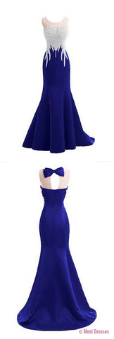 Mermaid Prom Gown,Royal Blue Prom Dresses,Royal Blue Evening Gowns,Beaded Party Dresses,Evening Gowns,2018 Formal Dress For Teen PD20183057