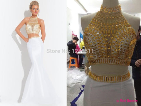 A Line Prom Gown,Two Piece Prom Dresses,White Evening Gowns,2 Pieces Party Dresses,Chiffon Evening Gowns,Gold Beaded Formal Dress For Teens PD20183045