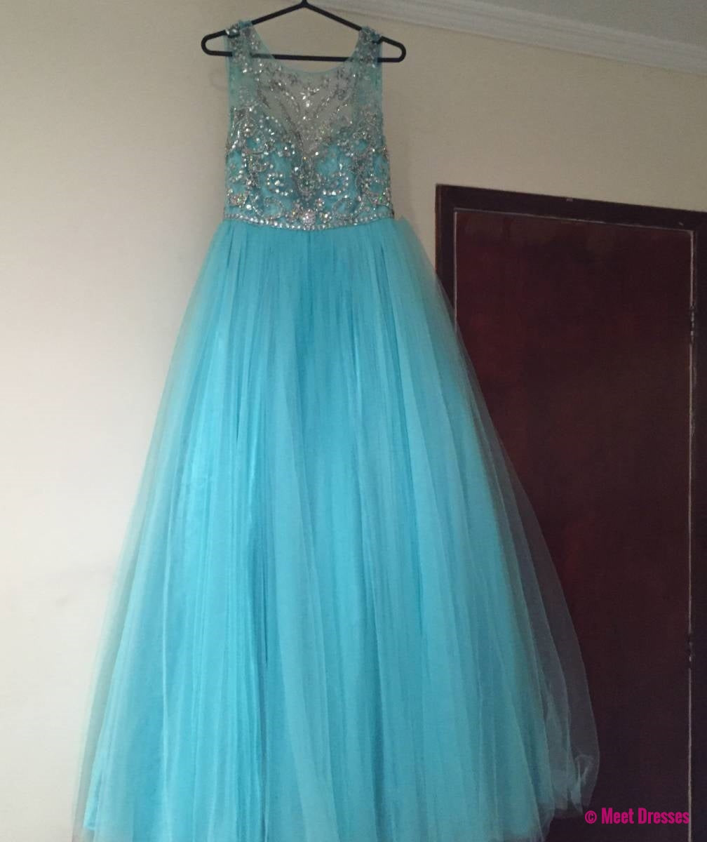Blue Prom Dresses,Tulle Prom Dress,Modest Prom Gown,Silver Beaded ...