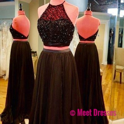 Black Prom Dresses,Black Prom Dresses,Sexy Prom Dress,2 pieces prom gown,Backless Evening Gowns PD20182751