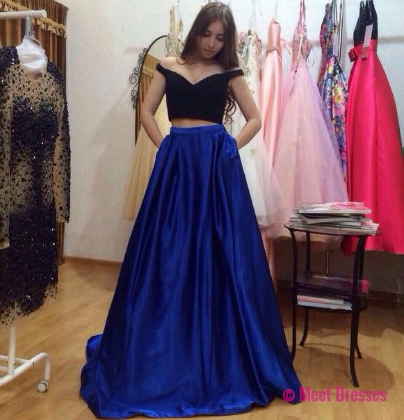 2 Piece Prom Gown,Two Piece Prom Dresses,black Evening Gowns,2 ...