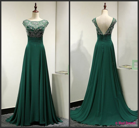 Backless Prom Dresses,Green Prom Gowns,Green Prom Dresses 2018, Party Dresses 2018,Long Prom Gown,Prom Dress,Sparkle Evening Gown,Sparkly Party Gowbs PD20182514