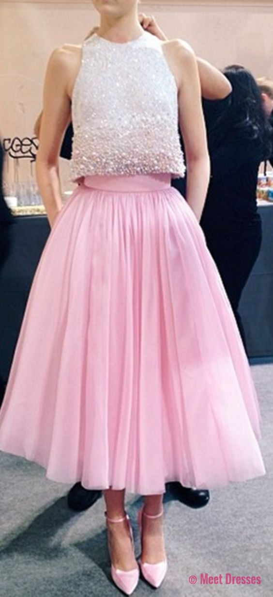 2 Piece Prom Gown,Two Piece Prom Dresses,Pink Evening Gowns,2 Pieces ...