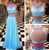 2 Piece Prom Gown,Two Piece Prom Dresses,Evening Gowns,2 Pieces Party Dresses,Evening Gowns,Sparkle Formal Dress For Teens PD20182525