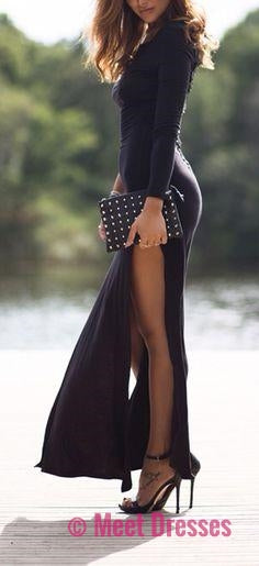 Black Prom Dress,Mermaid Prom Dress,Simple Prom Gown,Prom Dresses,Sexy Evening Gowns,2018 Evening Gown,Long Sleeves Evening Dress For Teens PD20182482