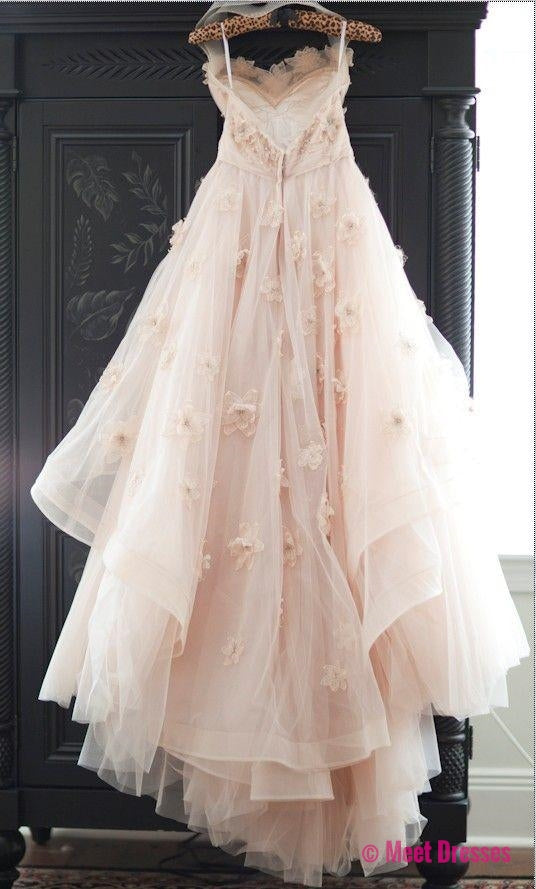 2018 Lovely Wedding Dresses,Long Wedding Gown,Tulle Wedding Gowns,Lace Bridal Dress,Romantic Wedding Dress,Unique Blush Pink Brides Dress,Spring Wedding Gowns PD20182418
