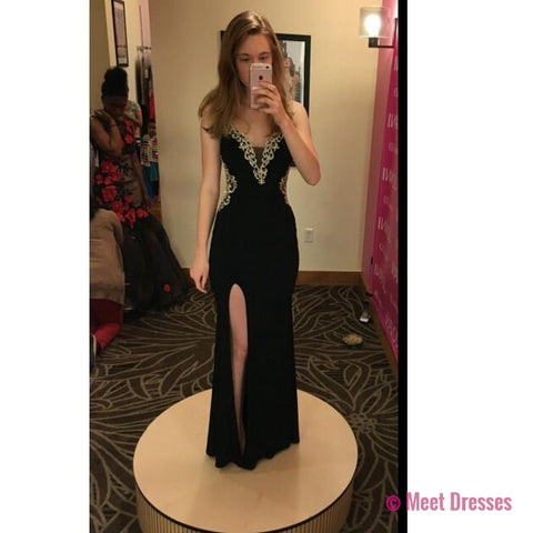 Black Long Prom Dress,Chiffon Prom Dresses,Prom Dress with Slit,Evening Dress,Formal Dress PD20182261