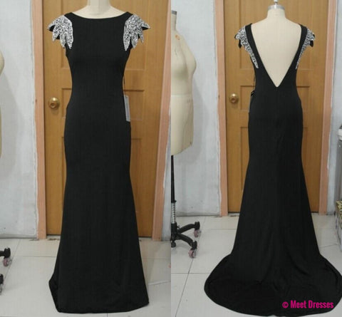 Black Evening Formal Dress,Backless Mermaid Evening Gown,V Neck Back Prom Dress,Long Prom Dresses PD20181885