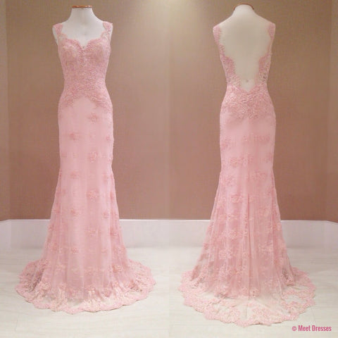 2018 New Style Prom Dress Blush Pink Evening Gowns lace Prom Gowns PD20181850