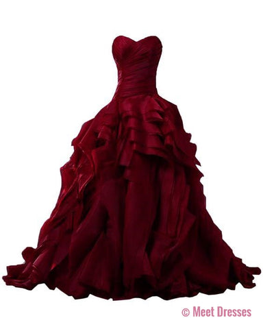 Prom Gown,Prom Dresses,Burgundy Evening Gowns,Party Dresses,Burgundy Evening Gowns,Ball Gown Formal Dress,Evening Gowns For Teens PD20181599