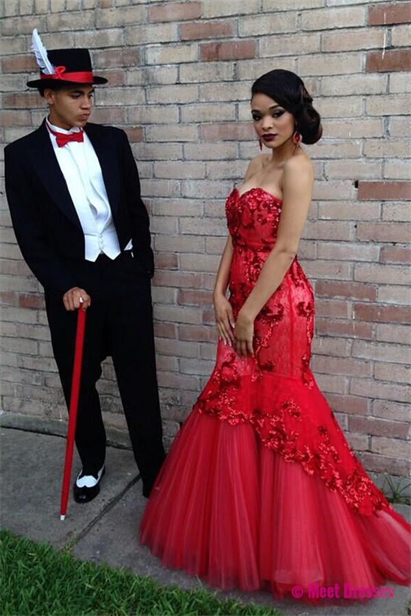 Red Prom Dresses,Prom Dress,Red Prom Gown,Lace Prom Gowns,Elegant ...