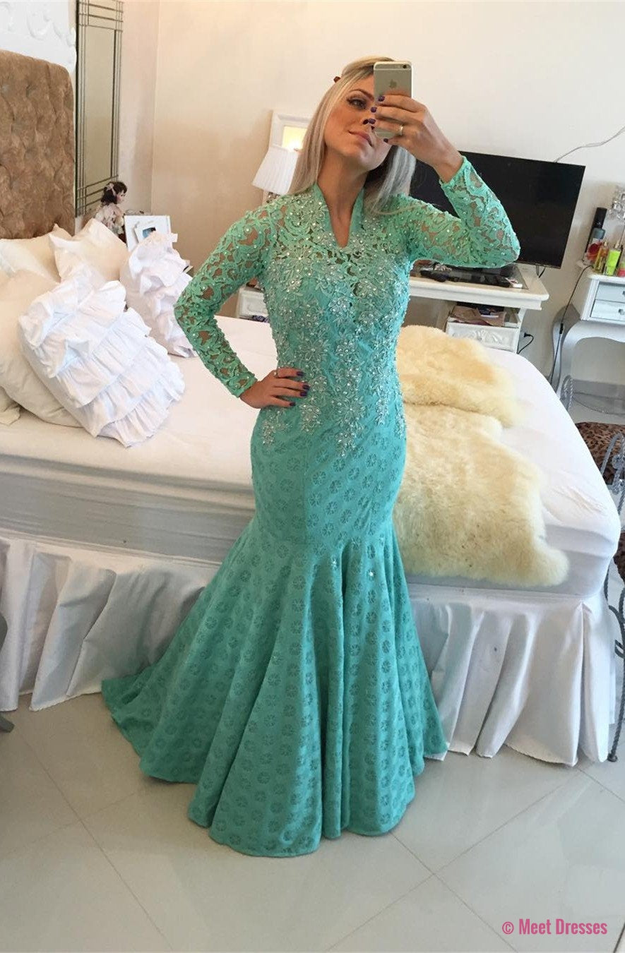 New Arrival Prom Dress,Modest Prom Dress,Glamorous Long Sleeve Lace ...