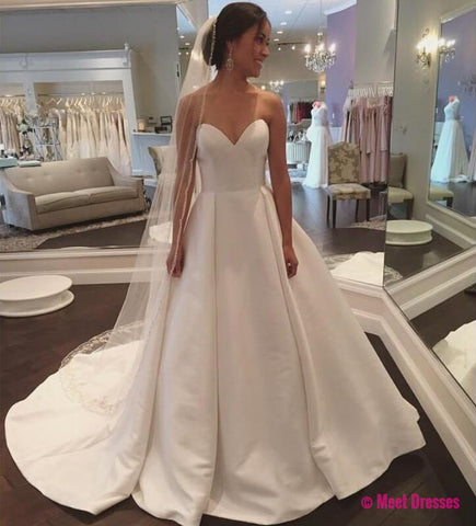 Wedding Dresses, Wedding Gown,White Sweetheart Satin Wedding Dress Simple and Claasic Formal Gowns Women Party Dresses PD20190066