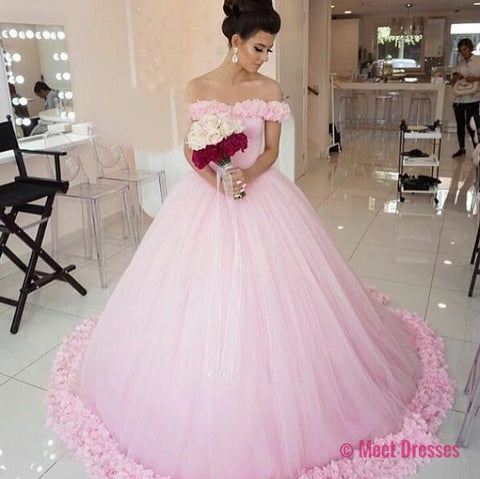 Wedding Dresses,Pink Wedding Dress,Simple Wedding Dress,Off the Shoulder Bridal Gowns,Women Ball Gowns,Wedding Dress with Flowers PD20190056