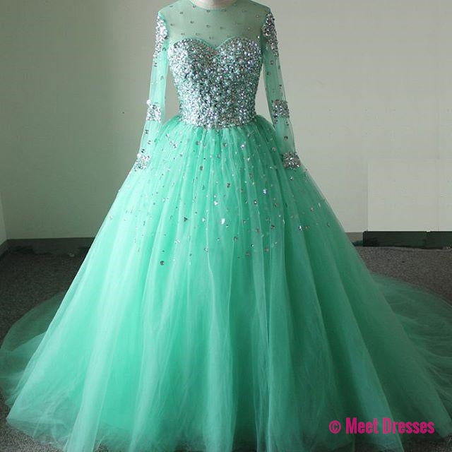 New Arrival Prom Dress,Modest Prom Dress,Sparkly mint green prom ...