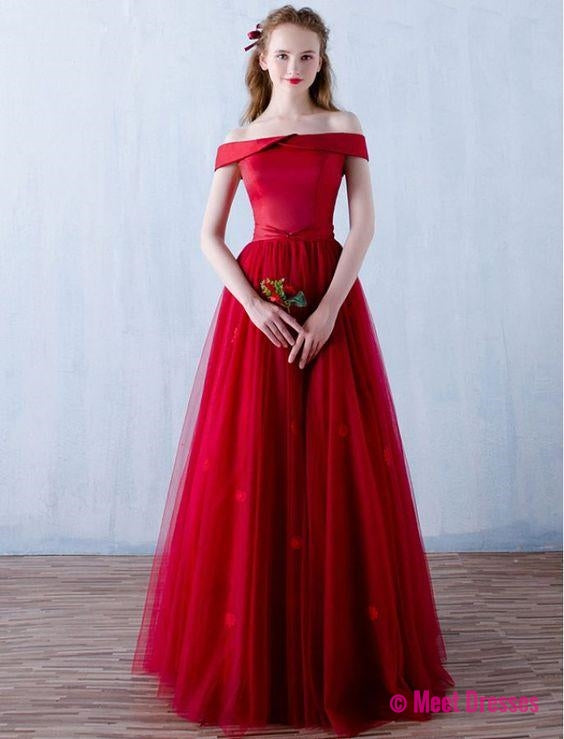 Red Prom Dresses,2018 Prom Dress,Prom Dress,Off The Shoulder Prom ...