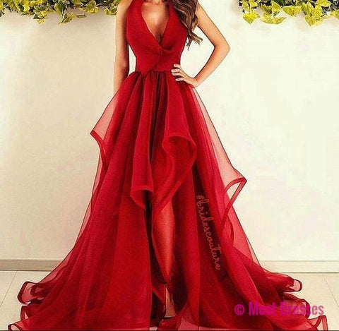 Prom Dresses,Long Prom Dresses,New Fashions Long Prom Dress Red Evening Dress Organza Prom Dresses Sexy Formal Evening Gowns PD20187184