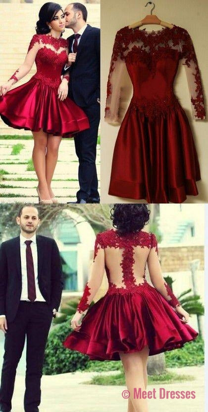 2018 homecoming dresses, long sleeve homecoming dresses,cheap burgundy homecoming dresses, Red homecoming dresses PD20181927
