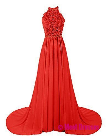 Charming Prom Dress,Halter Prom Dresses, Lace and Chiffon Prom Dress, Red Prom Dresses, Long Prom Dresses, Backless Prom Dress, Noble Prom Dress,Bridesmaid Wedding Dress, Evening Gowns PD20186847