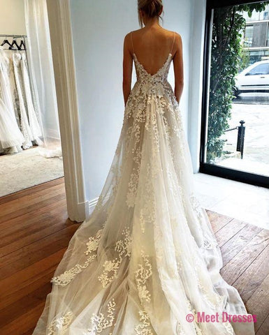 Wedding Dress,Wedding Dress 2018,Fashion Wedding Dress,Modest Wedding Dress,Sexy Deep V neck Wedding Dress,Open Back Lace Wedding Dress,Long Train Wedding Gown PD20186838