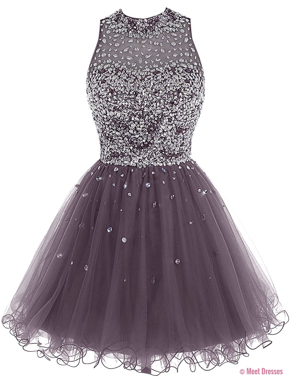 Gray Tulle Prom Dress