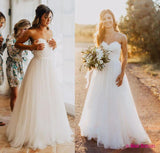 Elegant Tulle Beach 2018 Sweetheart Lace A line Simple Plus Size ...