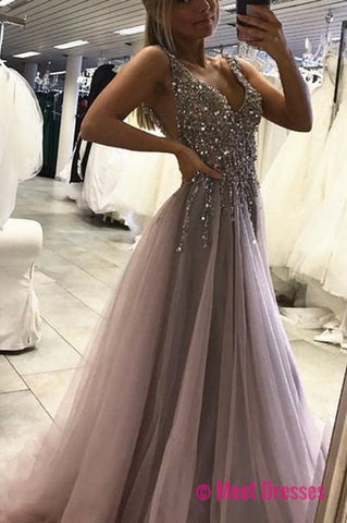 Sexy Side Split Prom Dress,Sleeveless Tulle Evening Dress,Long Party Dress PM115