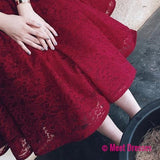 Half Sleeves Burgundy Homecoming Dress With Lace V-Neck Short Prom Dress
