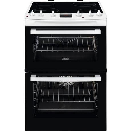 Zanussi ZCV66078WA 60cm Electric Double Oven with Ceramic Hob - White - A/A Rated - Euronics  * * ONLY 2 LEFT * *