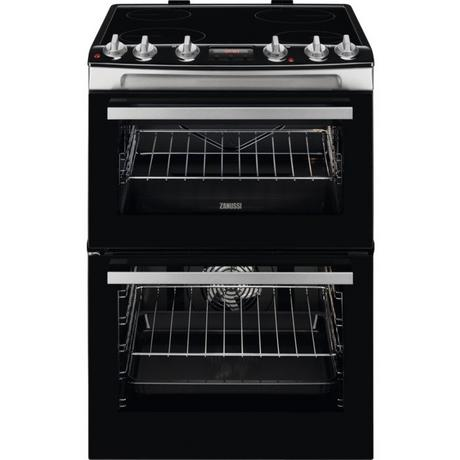 Zanussi ZCV66078XA 60cm Electric Double Oven with Ceramic Hob - Stainless Steel - A/A Rated - Euronics * * 2 ONLY LEFT * *
