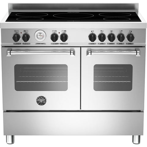 Bertazzoni 100cm Master range cooker with 5 zone induction and 2 ovens Stainless Steel-Appliance People