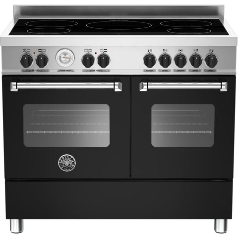 Bertazzoni 100cm Master range cooker with 5 zone induction and 2 ovens Matt Black-Appliance People