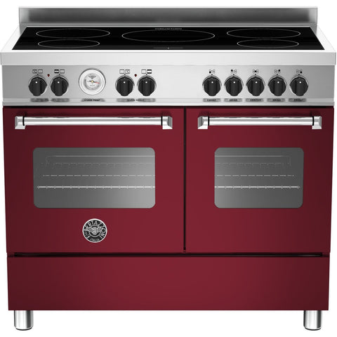 Bertazzoni 100cm Master range cooker with 5 zone induction and 2 ovens Matt Burgundy-Appliance People