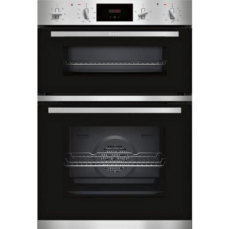 Neff U1GCC0AN0B Built In Electric Double Oven - Black & Steel - A Energy Rated Euronics